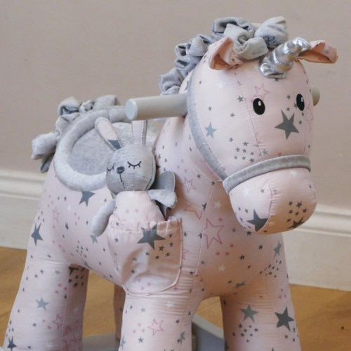Engraved unicorn rocking horse