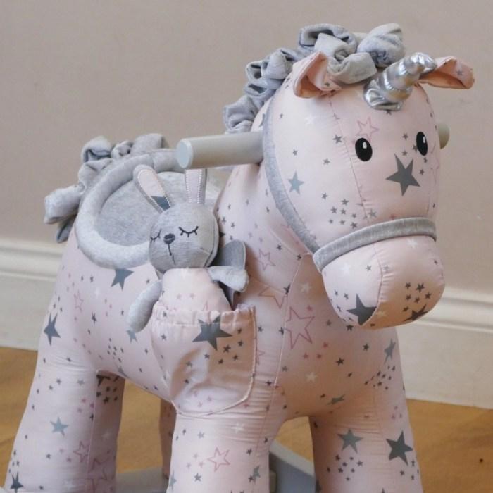Engraved unicorn rocking horse