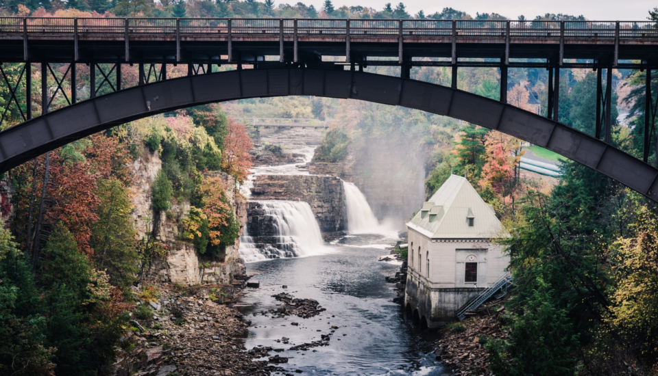 Rainbow Falls & Ausable Chasm Bridge in Adirondack, New York