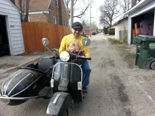 Olive & Q on the scooter