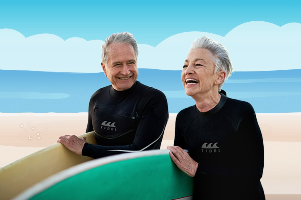 Older man and woman with surfboards in front of illustrated beach