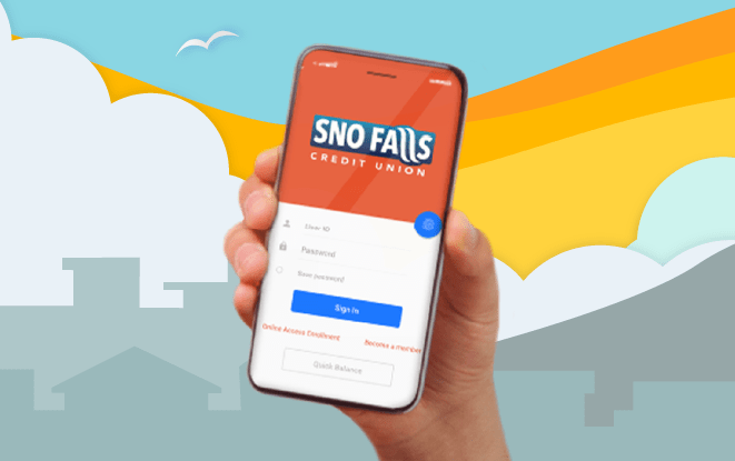 Hand holding mobile phone with Sno Falls app in front of illustrated skyline at sunset