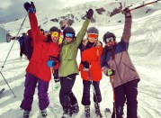 Skiing with my sisters in April