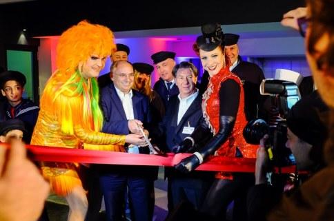 Olivia Jones, Michael Mücke, Knut Sander und Eve Champagner bei der ibis Eröffnungsfeier, Foto: Indeed Photography (Simon Bierwald)