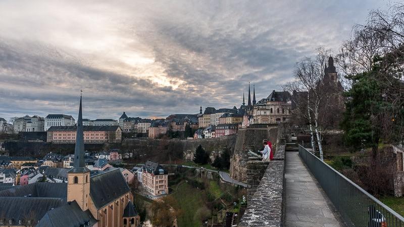 Blick vom Bockfelsen auf Ober- und Unterstadt, Luxembourg