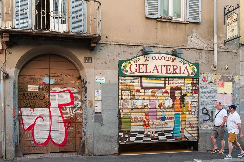 Streetart Eisdiele in der Nähe der Basilica of Sant'Eustorgio