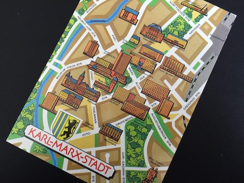 Karte der Innenstadt von Karl-Marx-Stadt Chemnitz