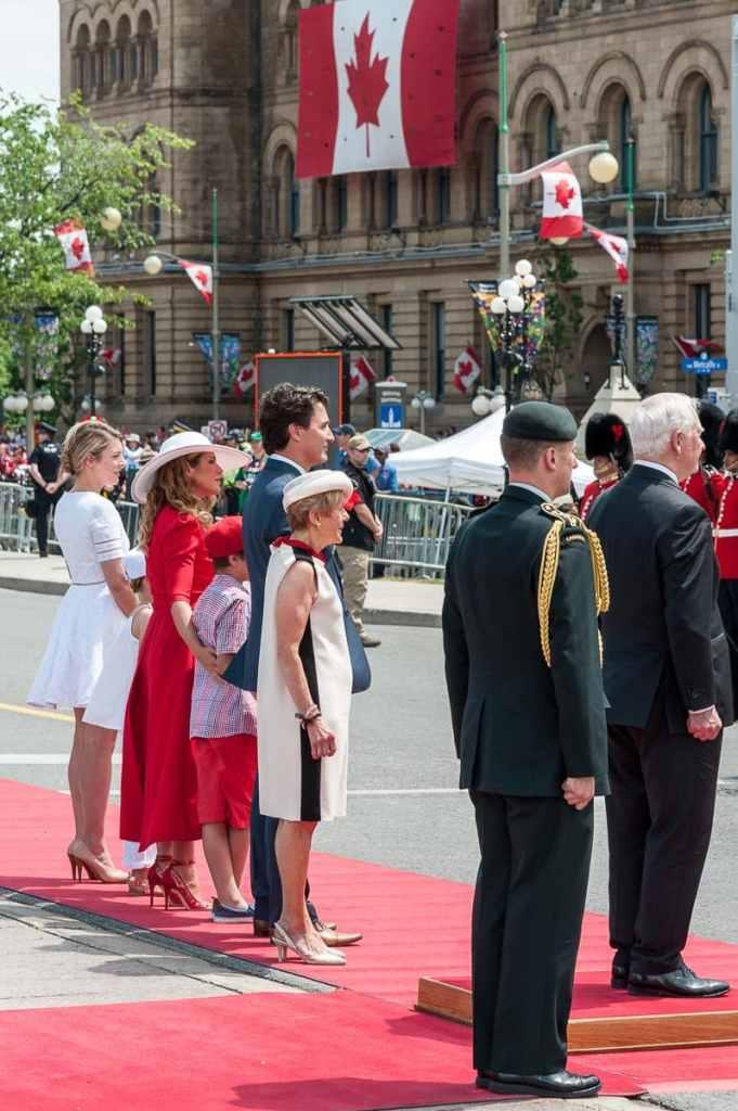 Minister of Heritage, Mélanie Joly, Sophie & Justin Trudeau mit Kindern, Governor General David Johnston und Ehefrau Sharon