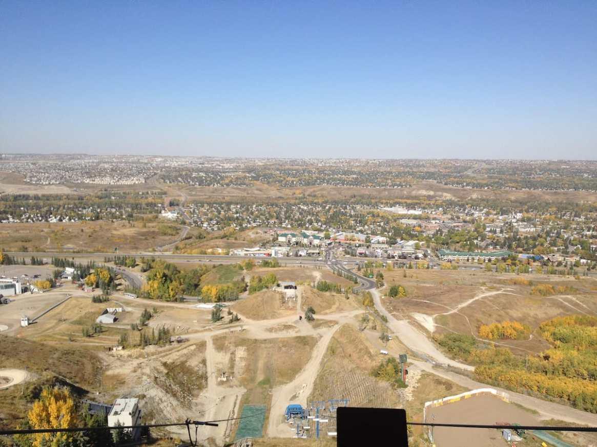 Ausblick von der Zipline auf Calgary