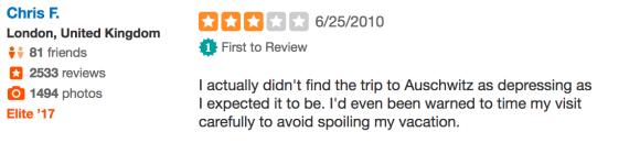 """Yelp: """"Der Trip nach Auschwitz war nicht halb so deprimierend, wie ich gedacht habe..."""""""