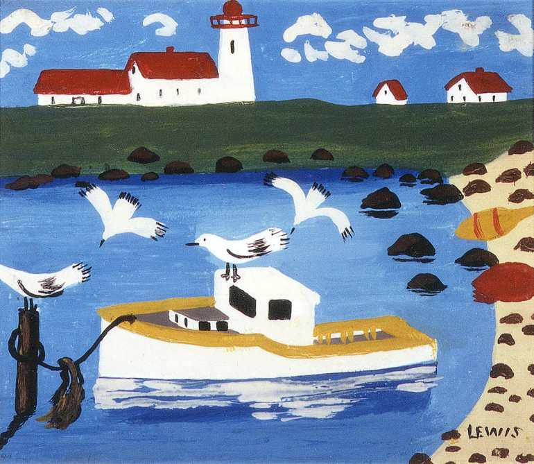 """Cape Islander Cove"" by Maud Lewis. Courtesy of the Art Gallery of Nova Scotia, all rights reserved."