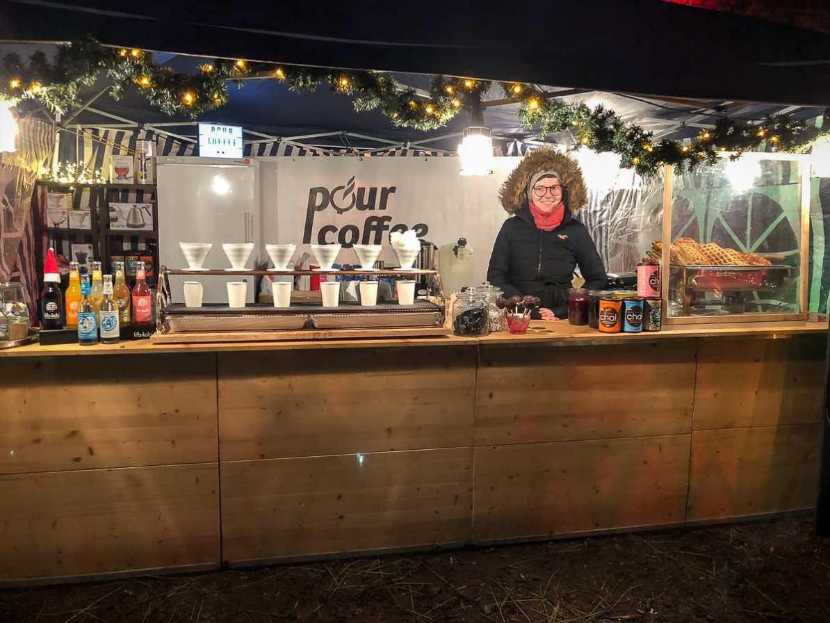 Der Pour-Coffee-Stand auf dem Weihnachtsmarkt auf Schloss Hohenlimburg
