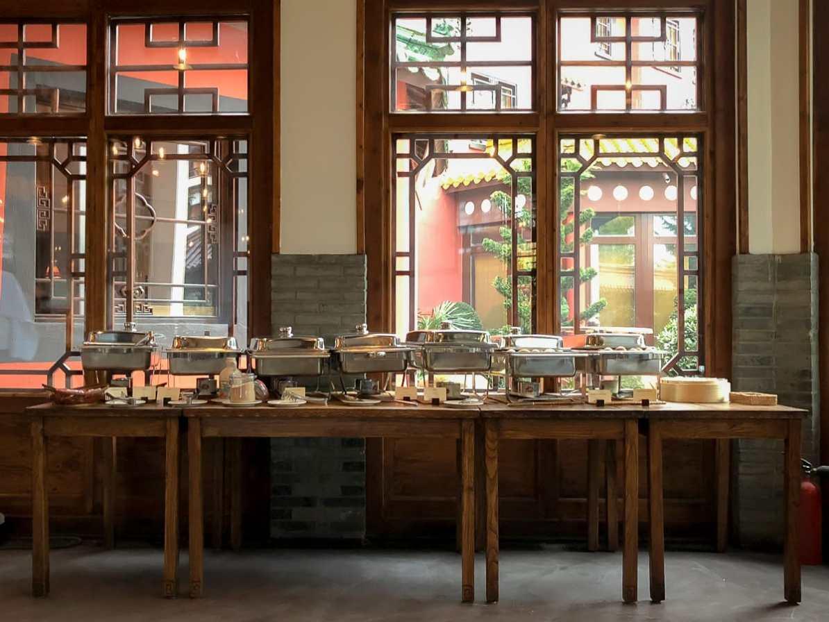 Provisorisches Frühstücksbuffet im Bamboo Restaurant