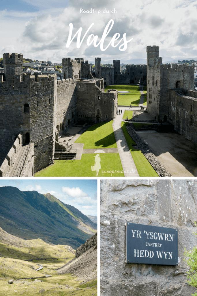 Pinterestgraphik Wales Roadtrip Tag 2 - Caernarfon Castle, Snowdonia, Hedd Wyn