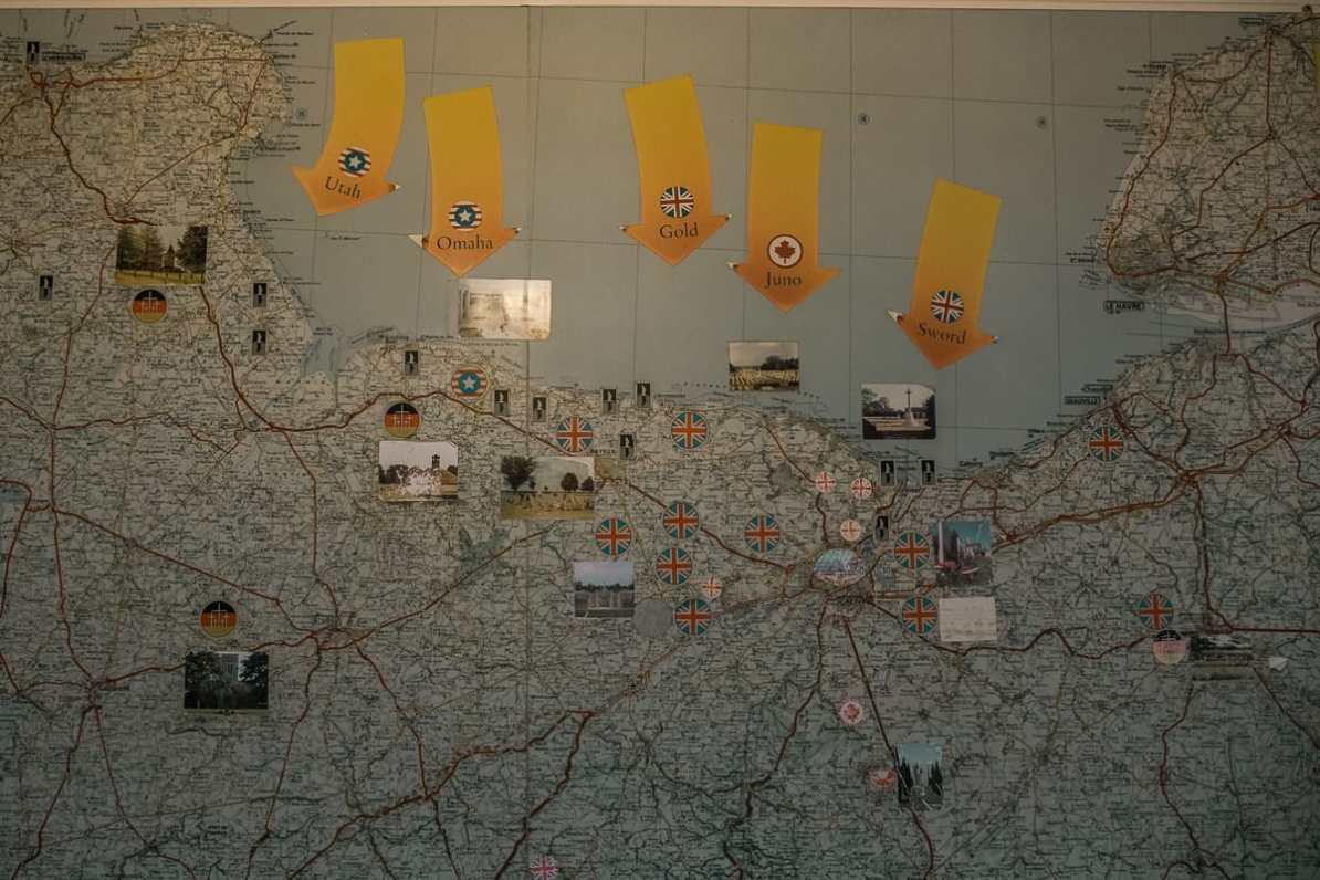 Karte der Landungsstrände während des D-Days in der Normandie.