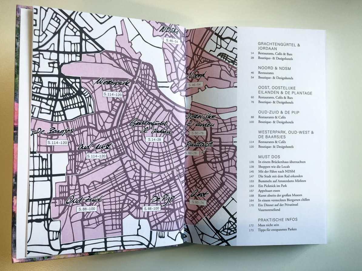 Übersichtskarte über die Stadtteile von Amsterdam.