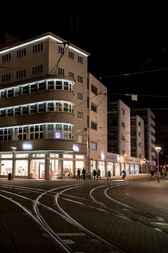 DHV-Haus, Anger 81, Erfurt bei Nacht.
