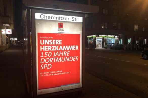 Unsere Herzkammer - 150 Jahre Dortmunder SPD Plakat an der Chemnitzer Straße, Dortmund.