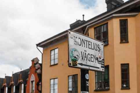 Hinweisschild zum Monteliusvägen