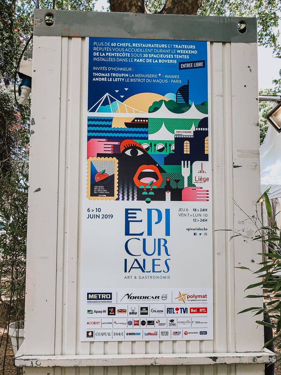 """""""Les Epicuriales""""-Plakat am Eingang zum Parc de la Boverie"""