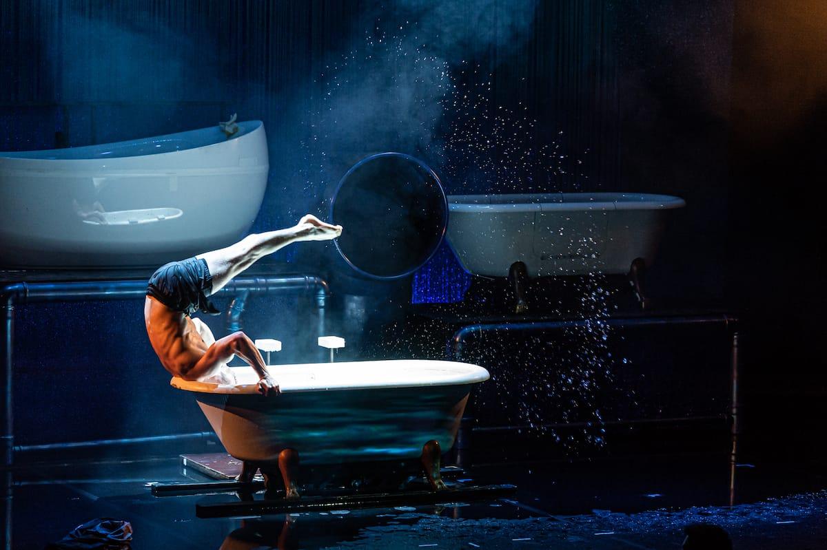 Andalousi mit ungewöhnlicher Artistik, um in eine Badewanne zu kommen.