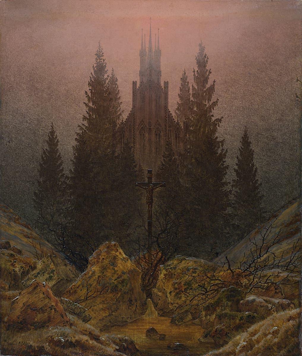 Bild: Caspar David Friedrich - Kreuz im Gebirge, um 1812, Kunstpalast Düsseldorf, Foto: Horst Kolberg - Artothek