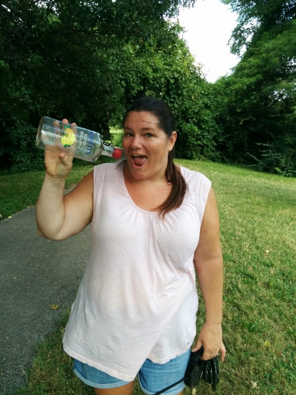 Nancy Brown found a beverage at the park.