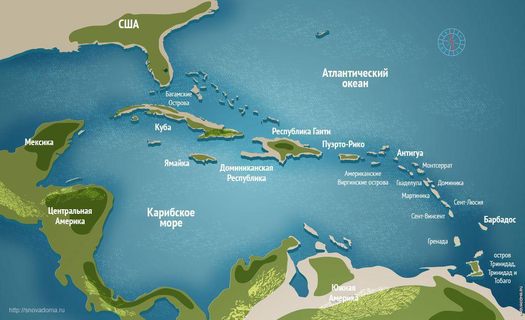 карибские острова на карте мира
