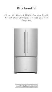Refrigerator: KitchenAid – 20 cu. ft. 36-Inch Width Counter-Depth French Door Refrigerator with Interior Dispense