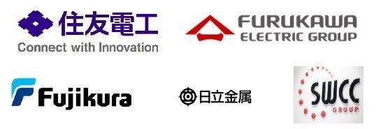 電線大手5社(住友電工、古河電工、フジクラ、日立金属、昭和電線)のロゴ