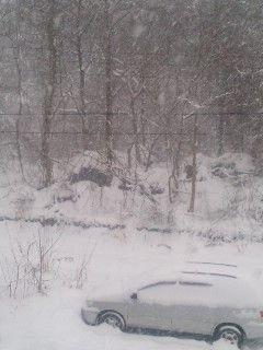 五色沼積雪