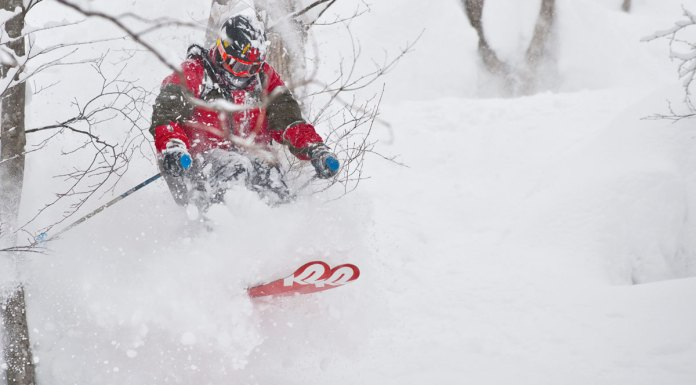 Skiing deep powder in the trees at Seki Onsen in the huge winter of 2012