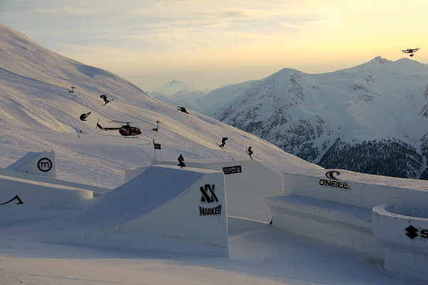 choppers, gyros, guys on the ground - no wonder coverage was so good at nine knights © mottolino fun mountain