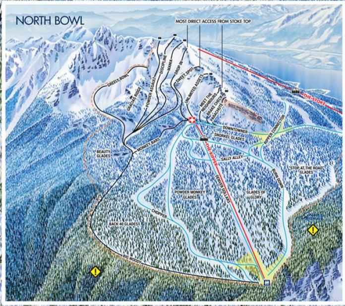 Revelstoke North Bowl trail map