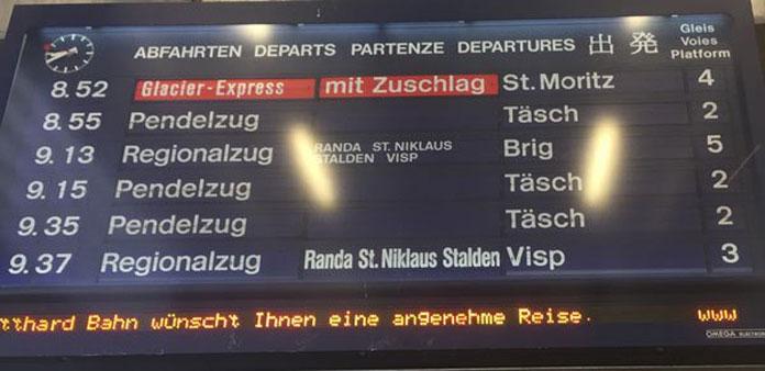 Glacier Express sing Zermatt station
