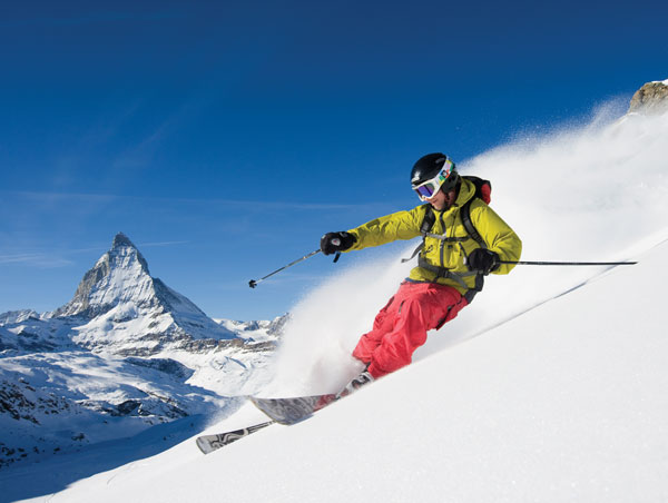 Zermatt skiing with Matterhorn behind