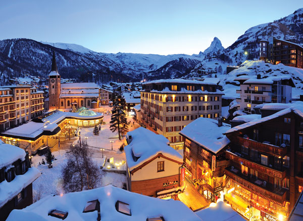 Zermatt at night village view