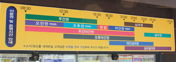 Ski ticket hours at Yongpyong