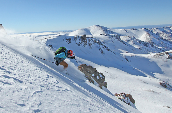Owain Price skiing at Mallin Alto