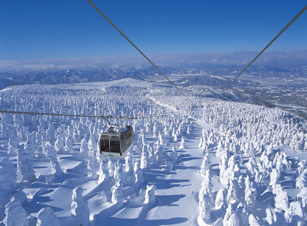 Zao Onsen top ropeway snow monster views