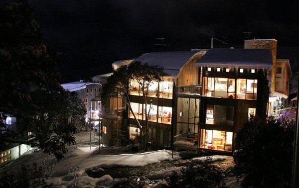 Frueauf Village at night in winter