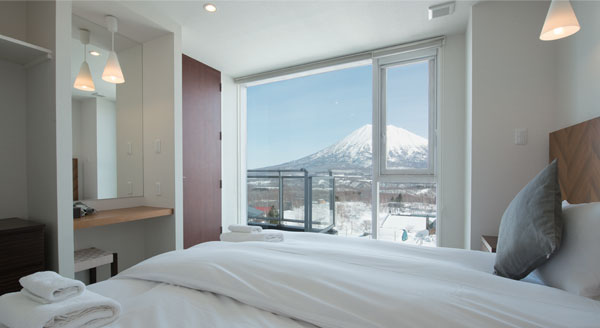Bedroom views from Niseko Landmark View Apartments