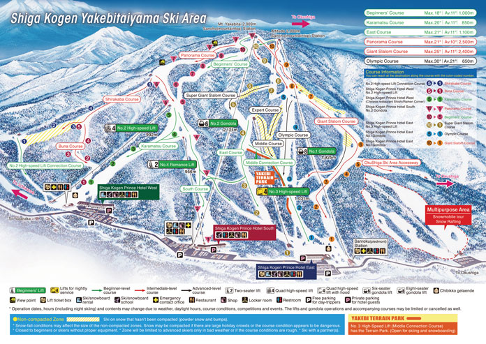 Shiga Kogen Yakebitaiyama trail map and Prince Hotels locations