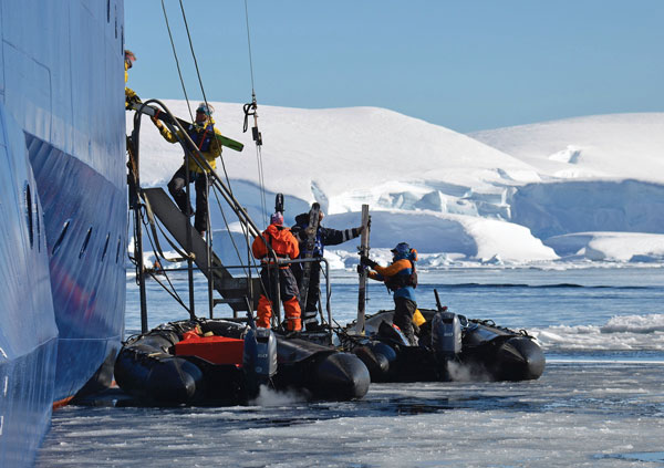 loading the zodiacs heading ashore to ski Antarctica