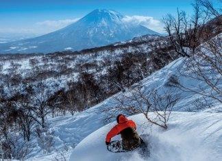 riding deep powder at Hanazono