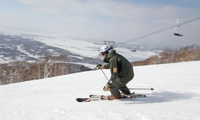 Maeda Mitsu skiing at Kamui Ski Links