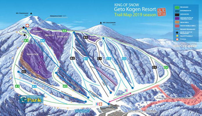 Geto Kogen 2018-2019 trail map