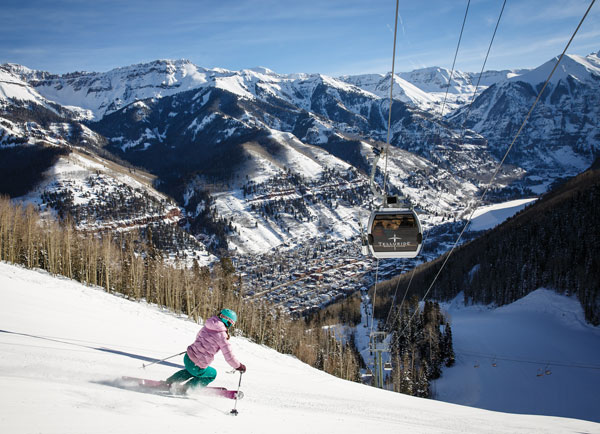 Skiing back to town at Telluride