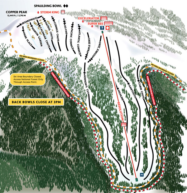Copper Mountain Resolution and Spaulding Bowls trail map