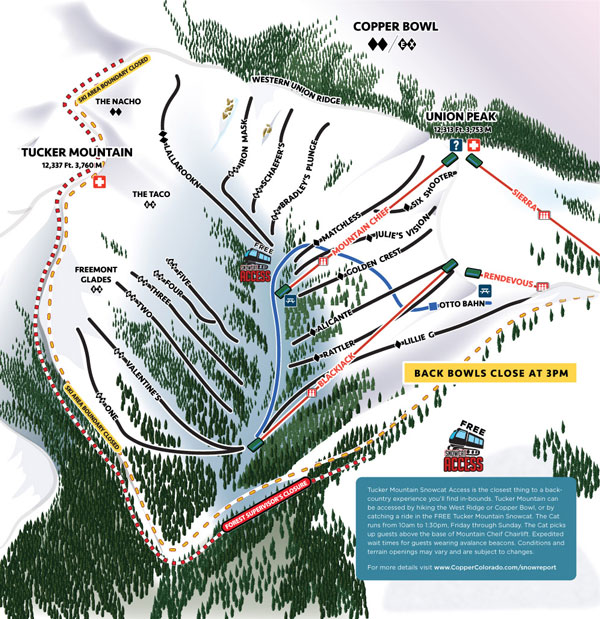 Copper Mountain Bowl trail map